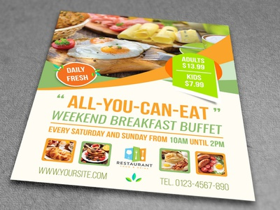 Breakfast Flyer Template food menu break fast fresh daily weekend food restaurant buffet