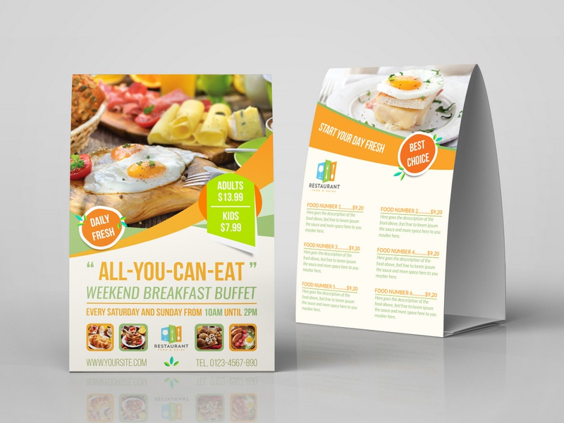Breakfast Restaurant Table Tent Template Cafe Coffee Logo Cake Food Menu Leaflet Design Services