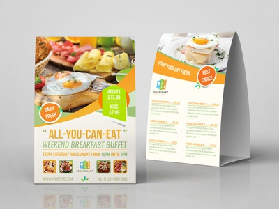 Breakfast Restaurant Table Tent Template By OWPictures Dribbble - Restaurant table tent template