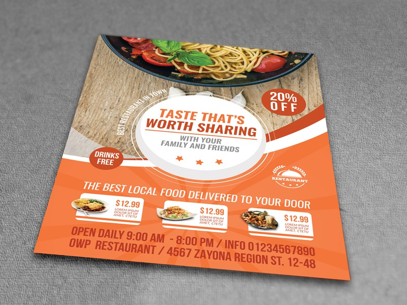 restaurant flyer template by owpictures dribbble dribbble
