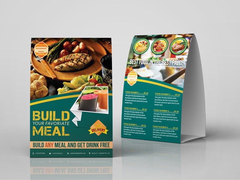 Restaurant Table Tent Template By OWPictures Dribbble - Restaurant table tent template