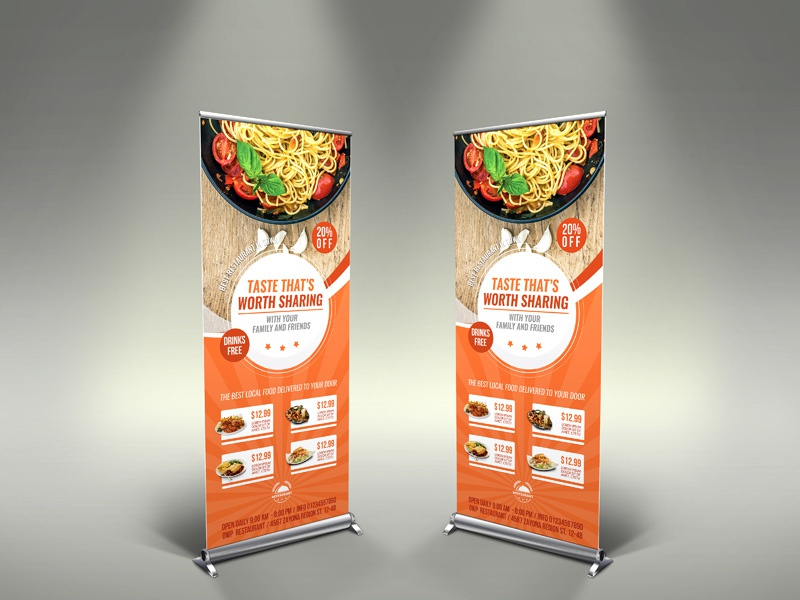 Restaurant Sigange Rollup Template leaflet juice heart healthy green food flyer fastfood energy drink delivery delicious coffee shop cafe business burger buffet advertising advert ad