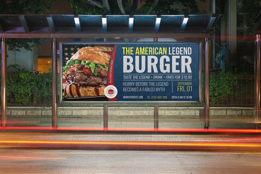 01 burger restaurant billboard template