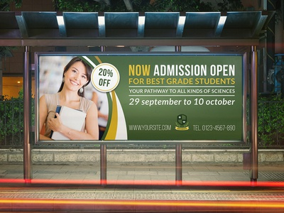Education Billboard Template professional post master magazine ad magazine letter learning learn flyer education degree courses course college clean blue back to school bachelor admission abroad