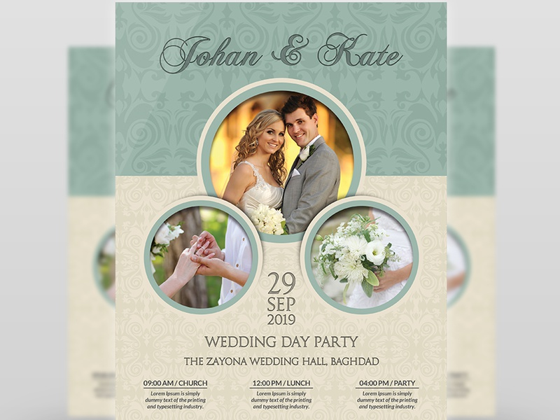 Wedding Flyer Template marry marriage lunch love light leaflet invitation happy grunge groom gold friends easy couple church celebration celebrate card bride betroth