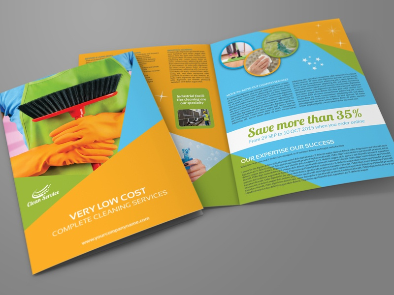 Cleaning Brochure Template | Cleaning Services Bi Fold Brochure Template By Owpictures Dribbble