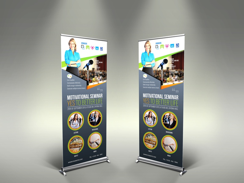Seminar Signage Templates orange motivational mind meeting lunch leaflet information idea home happy fresh flyer family discussions dinner corporate community communicate effectively buffet brain