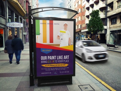 Painter Poster Template work small business services service roller brush rainbow colors pamphlet painting paintbrush paint brush paint leaflet labor job handyman flyer decorator decorative decorating colors template