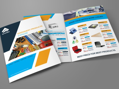 Stationery Products Catalog Bi Fold Brochure Template