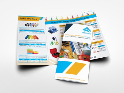 Stationery Products Catalog Tri Fold Brochure Template