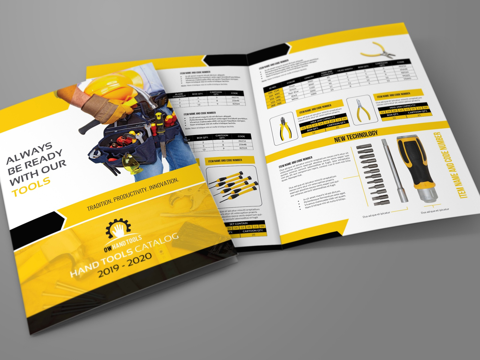 hand tools products catalog brochure template by owpictures on dribbble