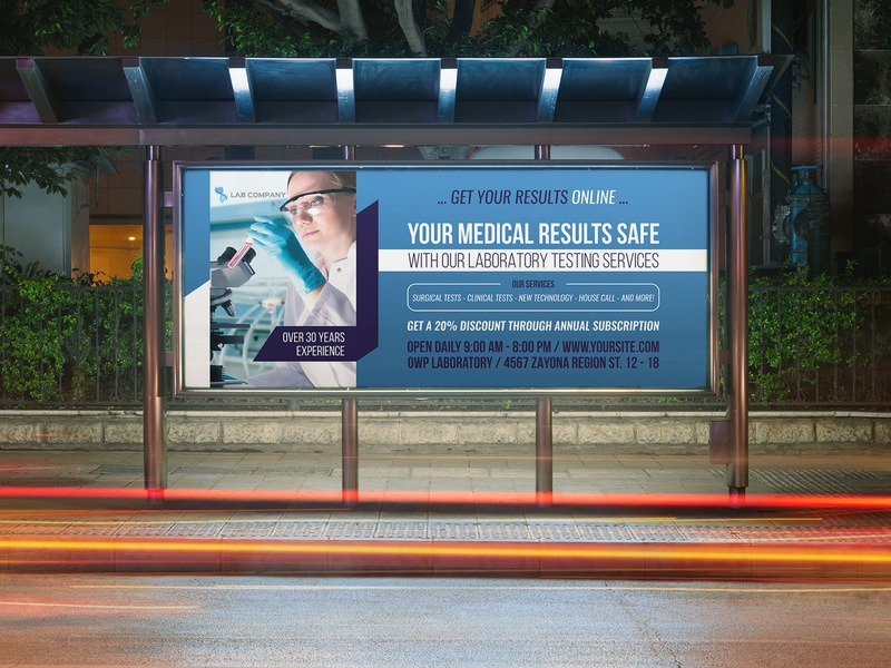 Medical Laboratory Billboard Template by OWPictures on Dribbble