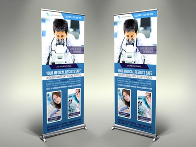 Medical Laboratory Roll Up Banner Signage Template