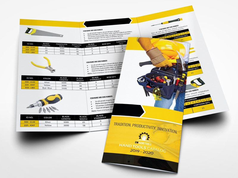Hand Tools Products Catalog Tri Fold Brochure Template supplies supplier screwdriver repair products description products cataloque products catalog product parts part multipurpose multi purpose instrument industrial hand tools hand book drill design commerce cataloque