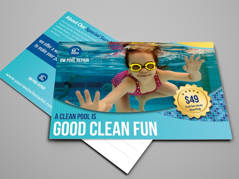 Swimming Pool Cleaning Service Postcard Template splash service sea post pool party pool party palm maintenance leaflet home gym fun flyer fitness event clean blue beach band