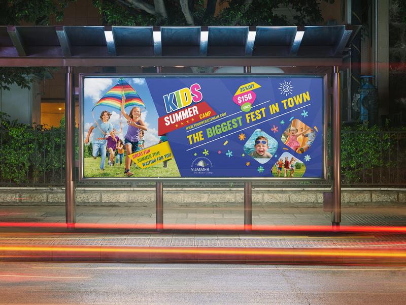 Kids Summer Camp Billboard Template kindergarten kid junior holiday girl fun flyer family easter day community class child camp boys boy advert adventure ad activity