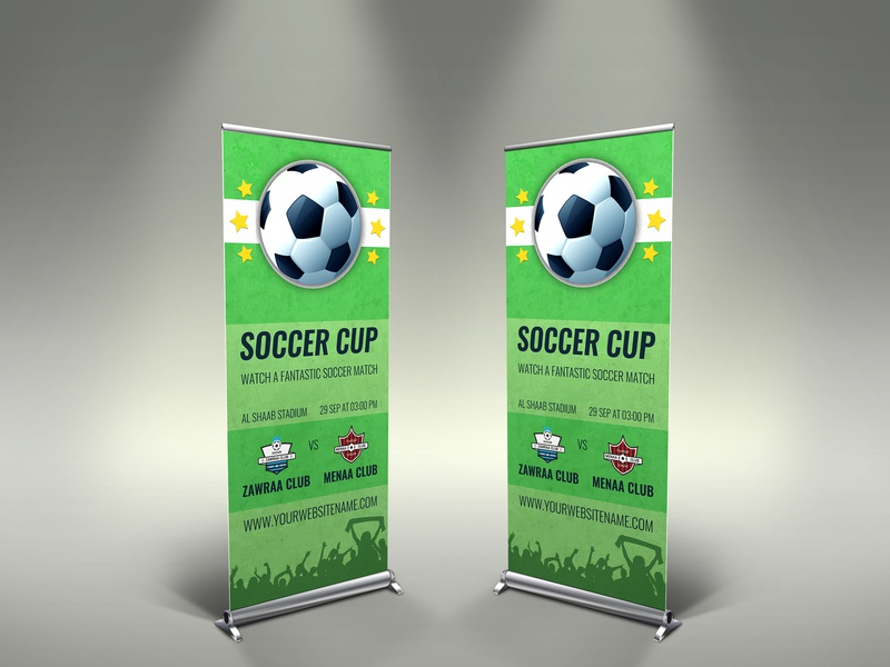 Soccer Signage Roll Up Banner Template russia qatar post league leaflet goal game futebol football flyer flag field event copa college cup championship champions league champions champion ball
