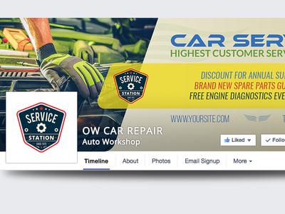 Car Repair Facebook Cover Template