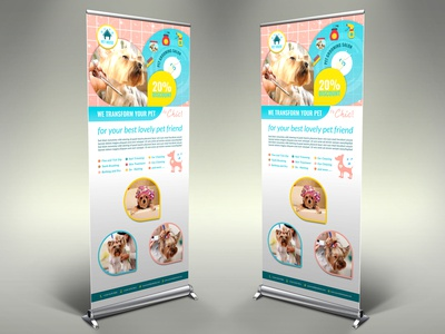 Pet Grooming Salon Signage Banner Roll Up Template