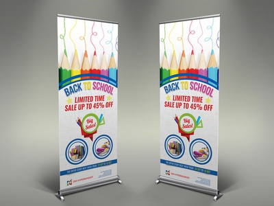 Back To School Signage Banner Roll Up Template