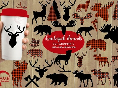 Lumberjack clipart, graphic, illustration, AMB-2315