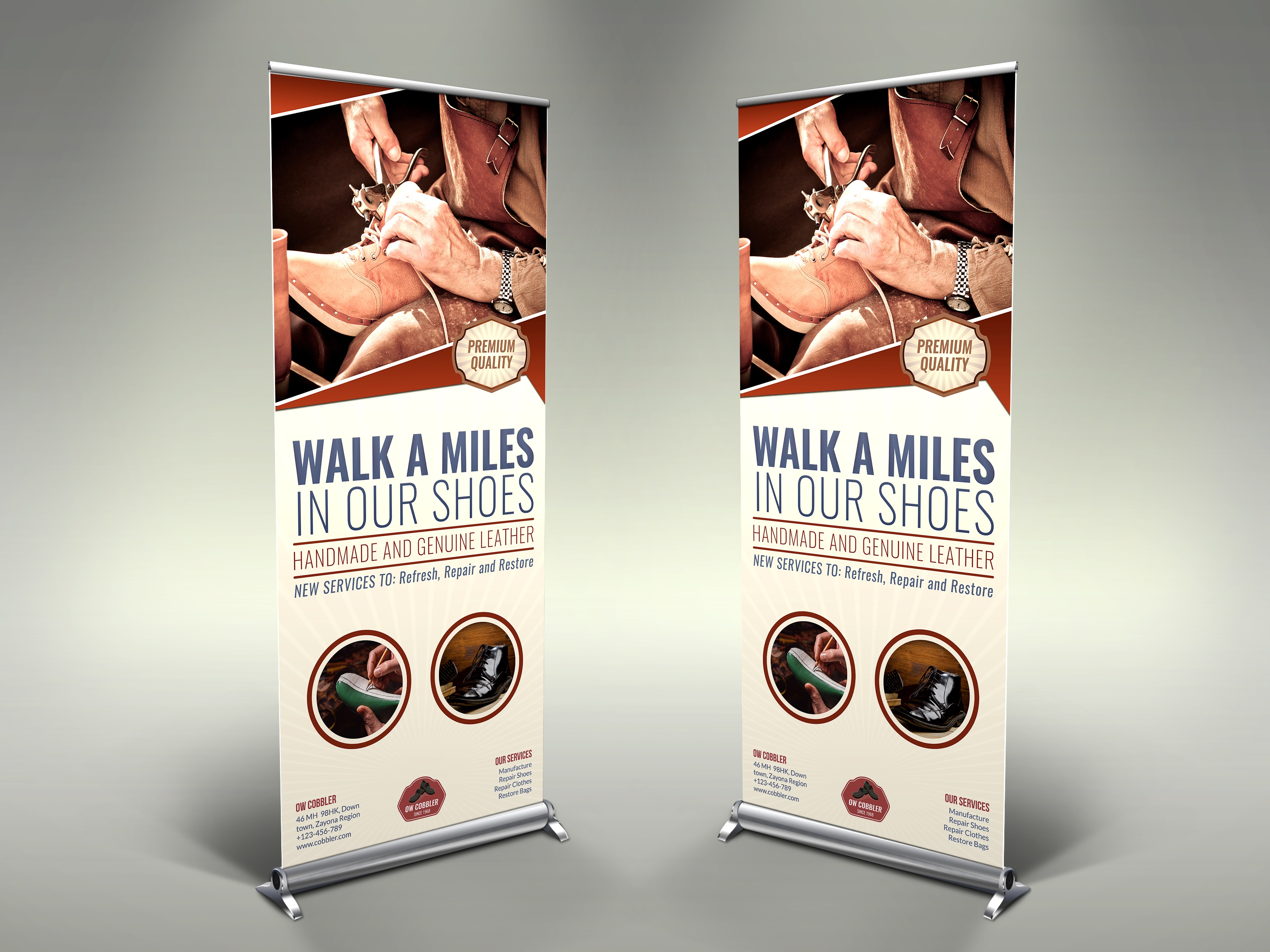 01 cobbler signage banner roll up template