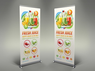 Fresh Juice Signage Banner Roll Up Template