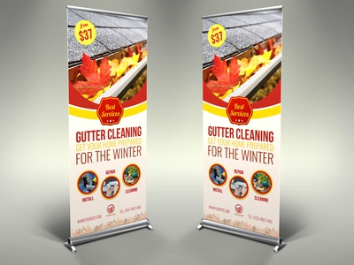 Gutter Cleaning Services Signage Banner Roll Up Template