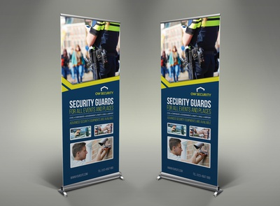 Security Guard Signage Roll Up Banner  Template