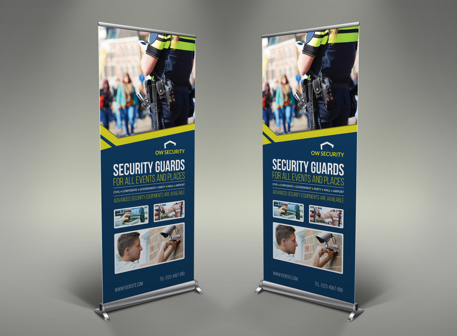 Security Guard Signage Roll Up Banner Template By Owpictures
