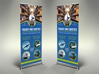 Freight an  Logistic Services Signage Roll Up Banner Template