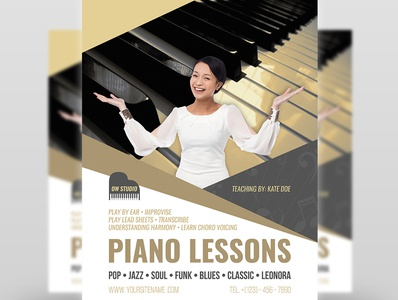 Piano Lessons Flyer Template professional print ready piano orchestra note music teacher music lessons list lessons kid instruments instrument guitar flute courses classes class chef camps activity