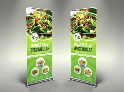 Salad Signage Banner Roll Up Template