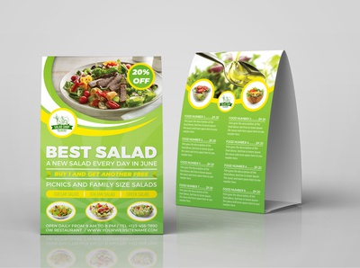 Salad Restaurant Tabel Tent Template