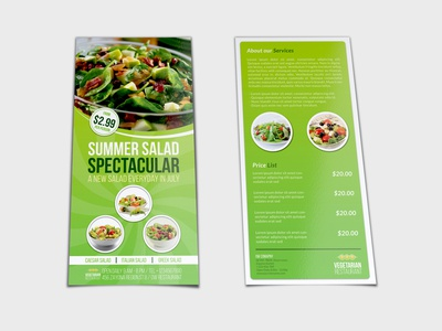 Salad Restaurant Flyer DL Size Template