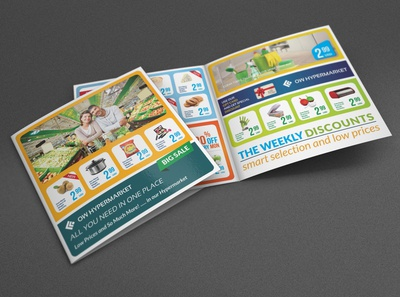 Supermarket Bi Fold Catalog Brochure Template