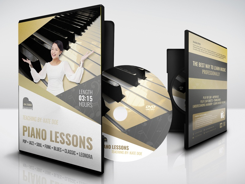 Music Lessons DVD Cover and Label Template professional print ready piano orchestra note music teacher music lessons list lessons kid instruments instrument guitar flute courses classes class chef camps activity