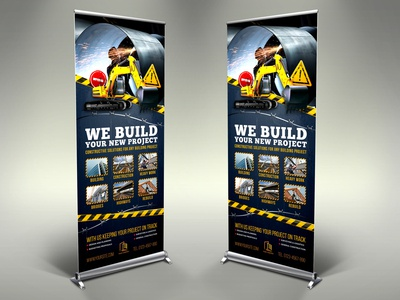 Construction Business Signage Rollup Banner Template