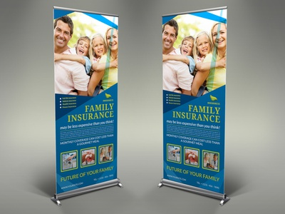 Insurance Sigange Banner Roll Up Template