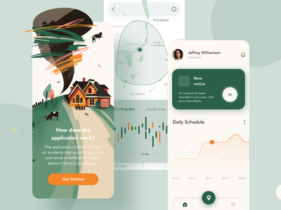 Safety App Mobile Design android app mobile ui ux design illustration iphonex ios app phone tree button map chart graphic house cow green ios android mobile ux ui