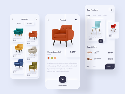 Furniture e-commerce ios mobile app screens user experience userinterface product buyer online shopping shop store ecommerce buy button iphonex iphone chair mobile android ios ux design ui
