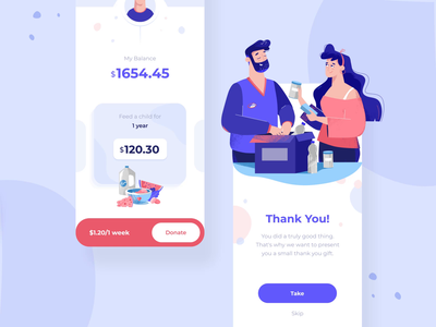 Charity ios app mobile interaction gif motiongraphics money charity food couple app interaction android illustration motion button animation mobile ux ui