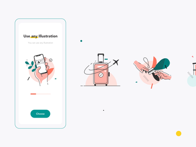 House Booking interaction mobile KIT onboarding illustrations