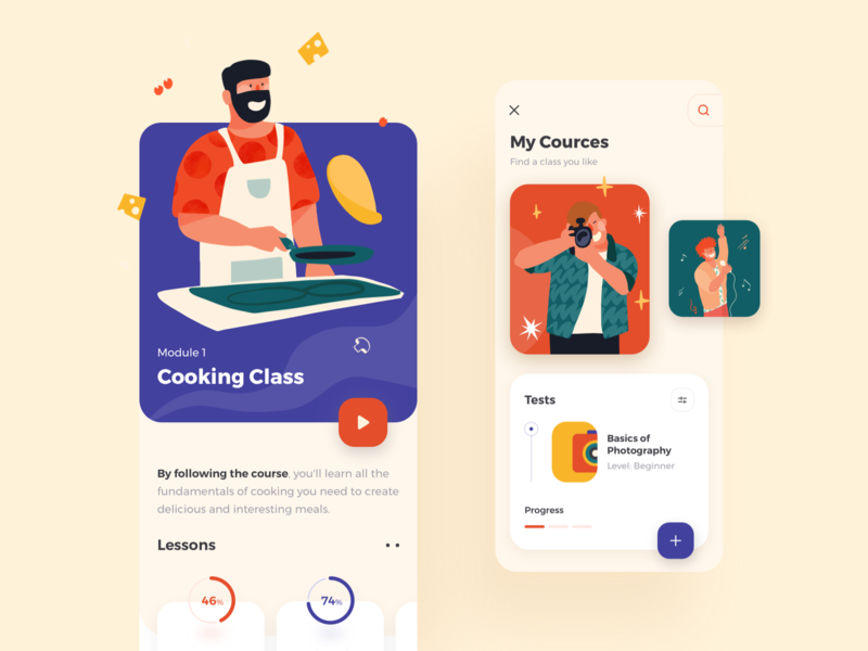 Courserio iOS Mobile App android illustrations/ui play button design color concept illustrations illustration ios mobile ux ui
