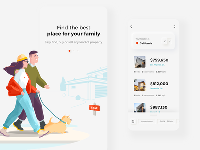 Property search mobile app design dog house illustration sale couple user user interface design userinterface mobile app design illustration art illustration design design android button mobile ux ui