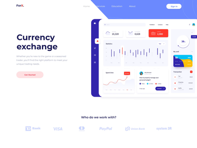 Currency exchange product page dashboard design