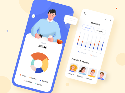 Financial statistic app design income analiticts user experience statistics charts graphics character design illustration design modern user interface design ux design mobile app design uiux mobile ui android app illustration ios ux ui