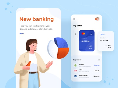 Banking ios mobile app banking illustrations lady add app spending chart radial graphic payment app card design cards card ios android illustration mobile ux design ui