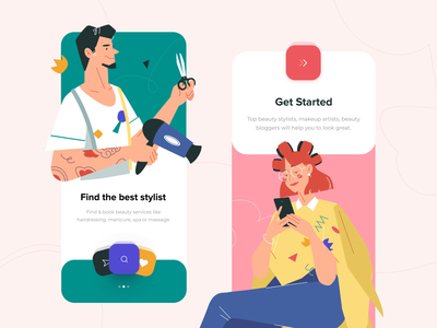 Stylist mobile app onboarding screens