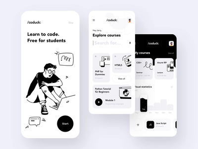 Coding app interaction design applicaton illustrator illustration design icon interaction design illustraion onboarding illustration cart chart graph interaction ios app android motion animation mobile design ux ui